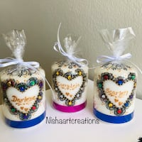 Personalized gifts henna candle/handmade henna art on candle Torrance