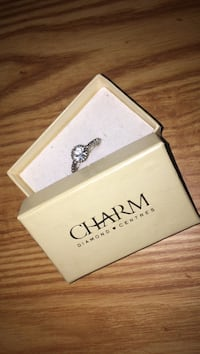 silver-colored Charm ring with diamond stone and box Dartmouth, B2V 1L7