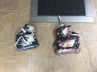 Two black and pink inline skates