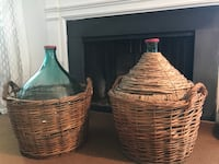 XL Demijohn bottles in basket. One sells for $245 at high end stores in Leesburg, VA.  Fairfax, 22032