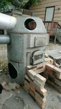 Wood burner for outside heat for garage  Flint