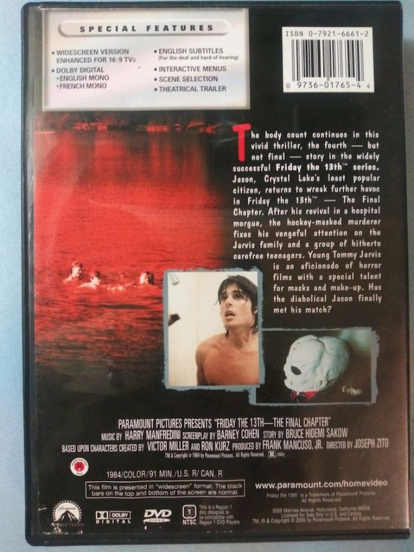 Friday the 13th The Final Chapter dvd e0af4277-9e02-4725-bc76-c4a7d179380b