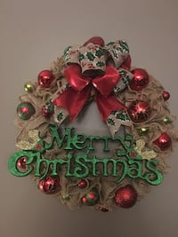red and brown Merry Christmas wreath