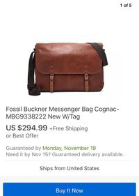 New Fossil Buckner Messenger Bag with tag Vancouver, V5T 0J2