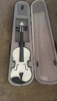 white violin with bow in case Frederick, 21701