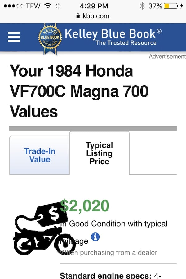 1984 Honda Magna v65 ,low Milage,,Great Condition runs great New Battery , wheels, ready to go -also recently changed leather on seats... 9e9d213c-e181-4919-87ba-d7fd873e39a1