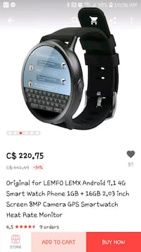 Smartwatch LEMFO LEMX. Bought for 220. London, N6K 1P4