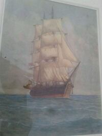 Watercolor painting of ship framed g