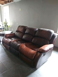 Brown leather 3-seat recliner sofa Clovis, 88101