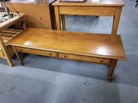 Two Drawer Long Maple Wood Coffee Table