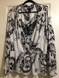 Ladies Blouse - White House | Black Market New -Never worn. Size XLWhite and black with pale grey design. Silky feel - 100% polyester. Pick up in Newmarket or Aurora. Can deliver local.  Newmarket, L3Y 6P1