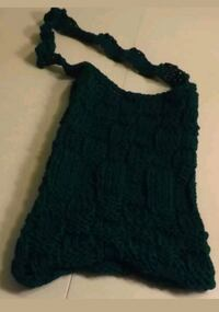 Handmade Green Squares Large Knitted Bag