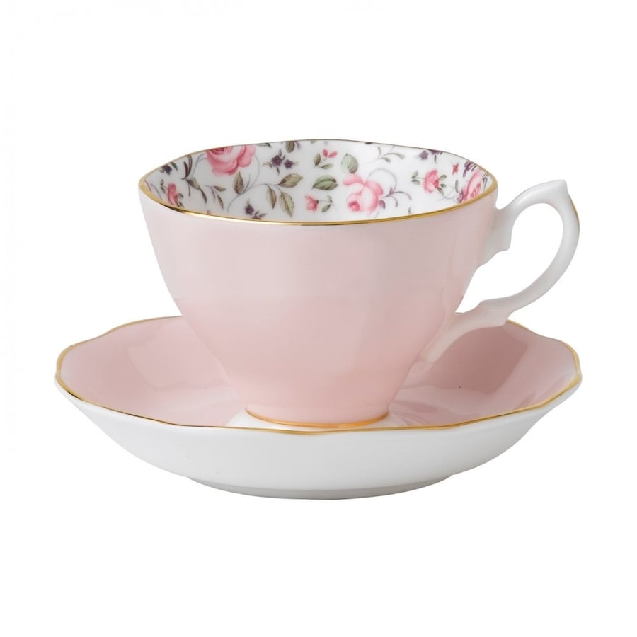 Set of 2 Rose Confetti Vintage Teacup & Saucer Boxed Set