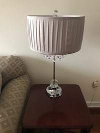 stset of 2 silver  base tan shade table lamps with crystals