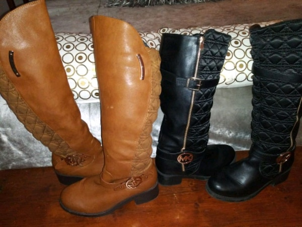 MK Boots 2 Pair Brown and Black Size 9 with Adjustable Calf Area 95d4bdd4-eb8c-4044-b031-75387e579563
