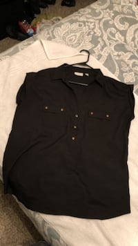 NY&Co large black blouse. Cap sleeve, gold buttons .  Fort Worth, 76137