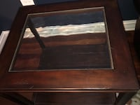 brown wooden framed glass top coffee table Naperville, 60540