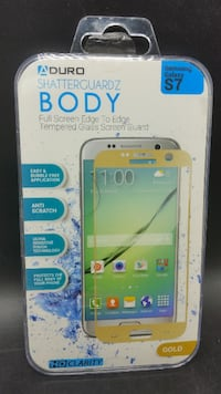 Aduro Shatterguardz Body Full Screen Edge to Edge Tempered Glass Screen Guard for Samsung Galaxy S7, Gold Eastvale