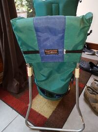 green, blue, and gray Tough Traveler swing chair