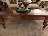 brown wooden framed glass top coffee table Hamilton, L8J 0A3