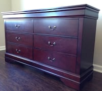 New Dark Cherry Dresser- 6 Drawers Silver Spring