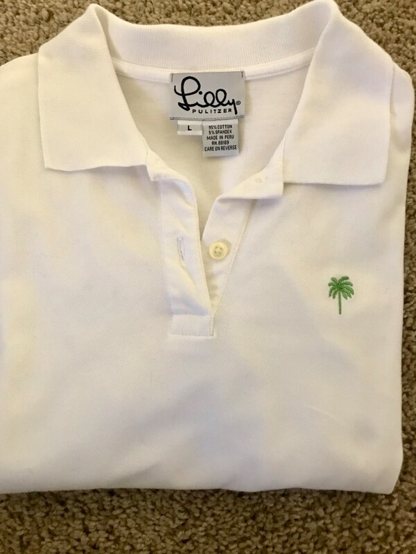 2 white lilly pulitzer ladies polo shirts