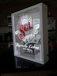Beer sign, wood light box.