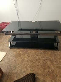 Black glass with chrome tv stand