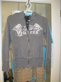 Guess Full Zipper Grey Hoodie - Size Small