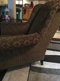 Embroidered Overstuffed Wing Chair