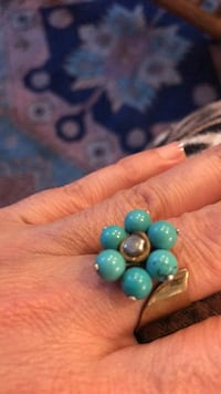Teal gemstone and handmade brass ring  Vancouver, V6H 1S7