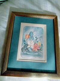 Lovely Bouquet of Flowers Lithograph Framed! Chicago