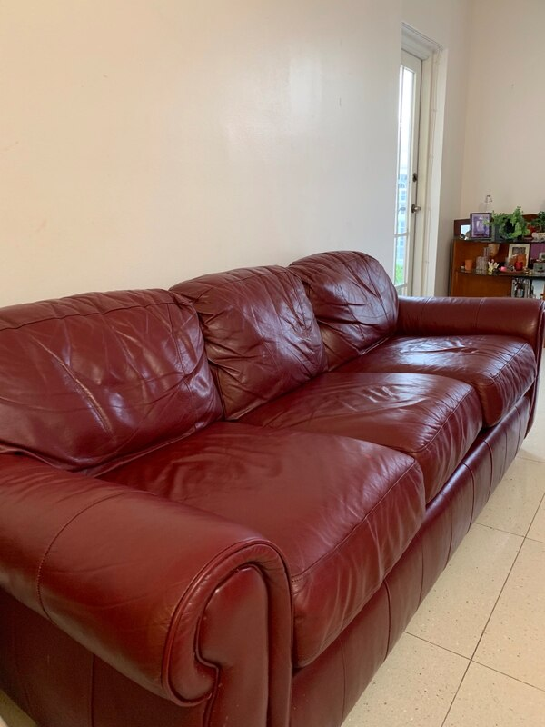 Leather sofa bed couch
