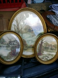 Three brown wooden framed paintings New Market, 21774