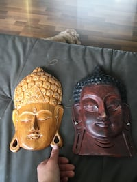 Wood faces hand carved