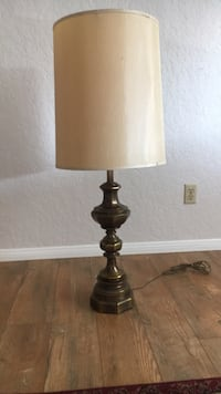 """Brass-colored base table lamp 41"""" tall approximately. Xposted Vista, 92083"""