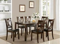 rectangular brown wooden table with chairs dining set Brampton, L6R 3L1