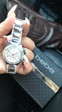 round silver-colored chronograph watch with link bracelet 1621 mi