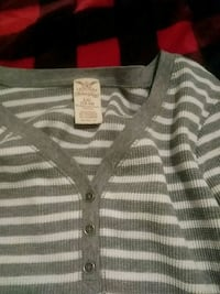 beige and white stripe button-up shirt