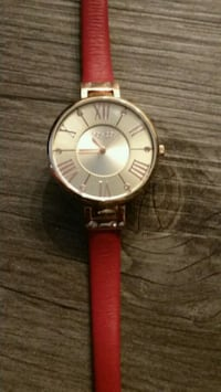 round silver-colored analog watch with brown leather strap Phoenix, 85016