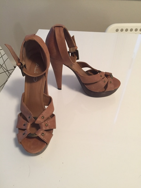 badcb9ff1c5 Used brown Aldo peep-toe ankle strap high heels for sale in Vancouver -  letgo