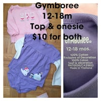 Baby girl 12-18m Gymboree top and onesie 713 km