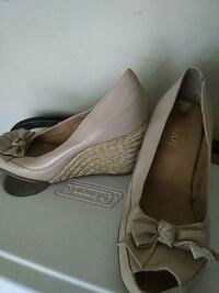 Size 10 aerosoles beige leather peep toe espadrill College Park, 30349