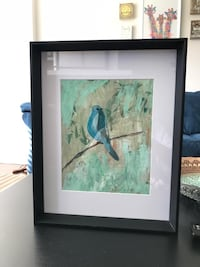 black wooden framed painting of blue and white bird Piscataway, 08854