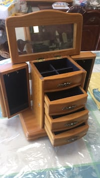 brown wooden TV hutch with flat screen television Elmhurst, 60126