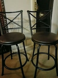 two black leather padded bar stools Parkville, 21234