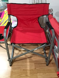 Red and black camping chair with flip up side table/cup holder  Ellicott City, 21043