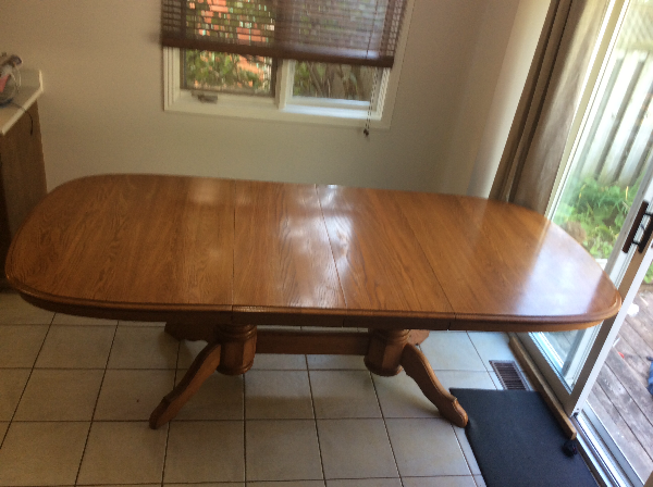Solid oak extendable dining table with chairs KITCHENER
