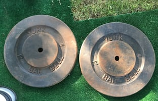 Vintage York Bar Bell Weights.  2x75lbs