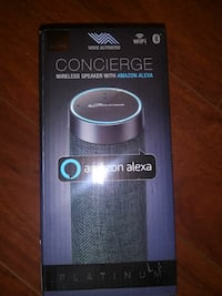 black and blue Concierge wireless speaker with Ama Houston, 77064